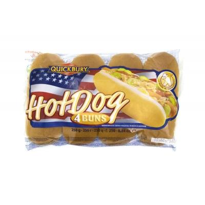 Фото упаковки булочек Quickbury для хот-дога Hot Dog Buns 4шт х 62.5г 250г