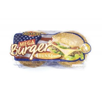 Фото упаковки булочек для мега бургера Quickbury Mega Burger Buns с кунжутом 4шт х 75г 300г