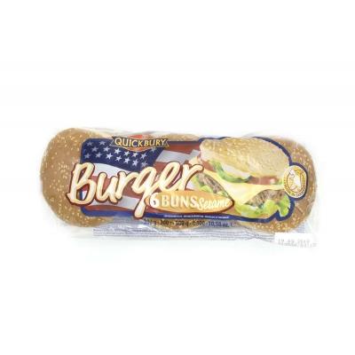 Фото упаковки булочек для бургера Quickbury Burger Buns Sesame с кунжутом 6шт х 50г 300г