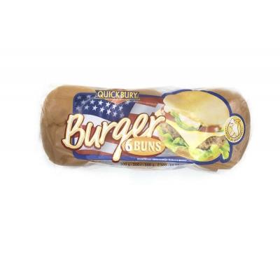 Фото упаковки булочек для бургера Quickbury Burger Buns без кунжута 6шт х 50г 300г