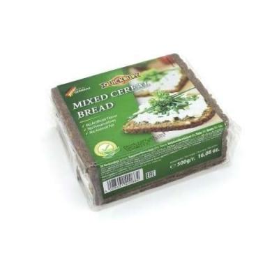 Фото упаковки хлеба Quickbury Vierkornbrot Mixed Cereal Bread четырехзерновой 500г