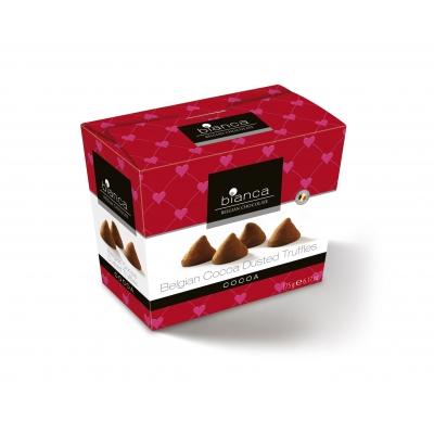 Фото упаковки шоколадных конфет Bianca трюфели со вкусом какао