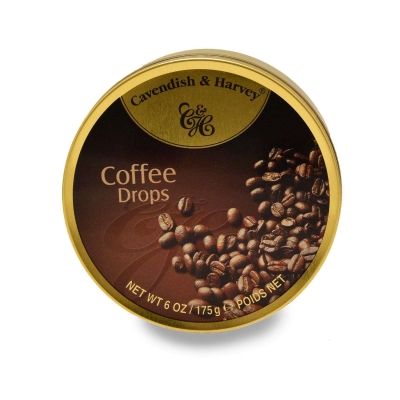 Фото упаковки леденцов Cavendish & Harvey с кофейным вкусом (coffee deluxe drops) 175г