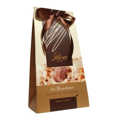 Фото упаковки шоколадных конфет Oliva трюфелей с нугой Tartufi al Torroncino 160г
