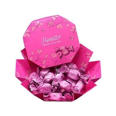 Мерлетто Конфеты нуга, воздушный рис, карамель 150г (розовая кор)