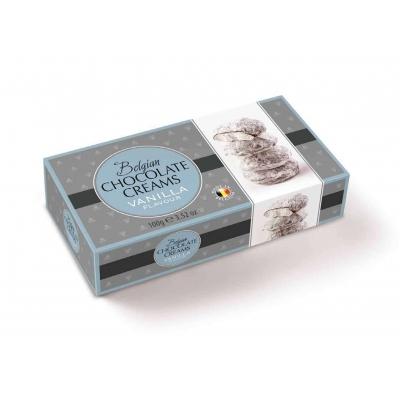 Фото упаковки шоколадных конфет Geldhof кремовые снежки с ванильной начинкой 100г