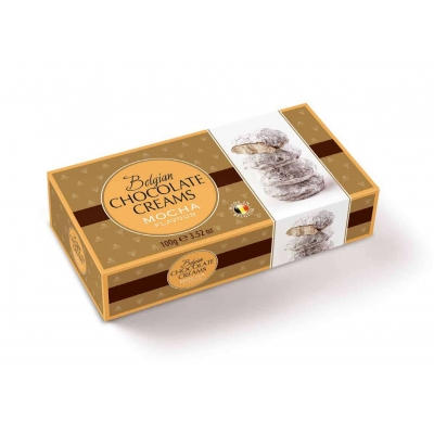 Фото упаковки шоколадных конфет Geldhof кремовые снежки с начинкой кофе мокко 100г