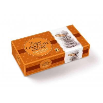 Фото упаковки шоколадных конфет Geldhof кремовые снежки с апельсиновой начинкой 100г