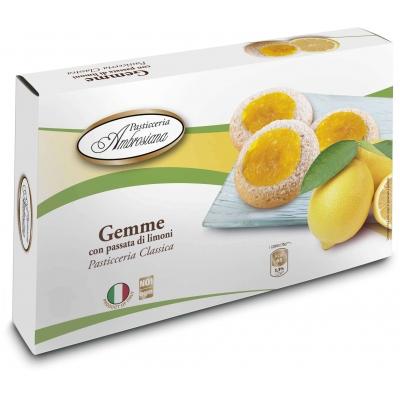 Фото упаковки печенья Dolciara Ambrosiana Джемме с лимонной начинкой (gemme di limoni) 150г