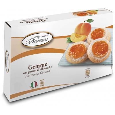 Фото упаковки печенья Dolciara Ambrosiana Джемме с абрикосовой начинкой (gemme di albicocche) 150г