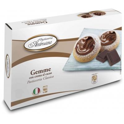 Фото упаковки печенья Dolciara Ambrosiana Джемме с начинкой из крема с какао и лесными орехами (gemme con crema al cacao) 150г