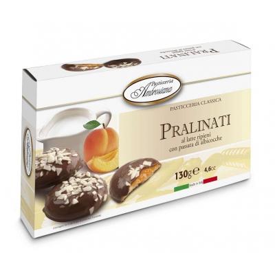 Фото упаковки печенья в шоколаде Ambrosiana Пралинати с абрикосовой начинкой (pralinati di albicocche) 130г