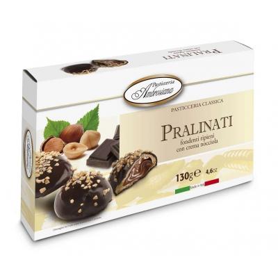 """Фото упаковки печенья в шоколаде Dolciara Ambrosiana """"Пралинати"""" с ореховой начинкой (pralinati nocciola) 130г"""