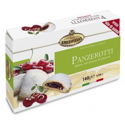 Фото упаковки печенья сочники Dolciara Ambrosiana Панцеротти с вишней (panzerotti di amarene) 140г