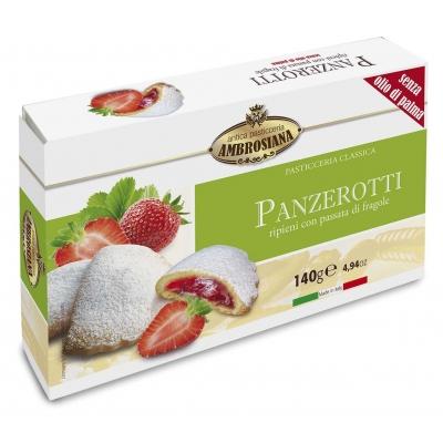 Фото упаковки печенья сочники Dolciara Ambrosiana Панцеротти с клубникой (panzerotti di fragole) 140г
