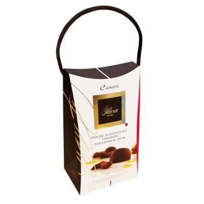 Фото упаковки шоколадных конфет Oliva пралине с ромом Cuneesi al Rhum Jamaica 200г