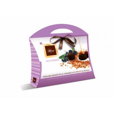 Фото упаковки шоколадных конфет Oliva пралине с карамелью и ягодами Dolcenero 150г