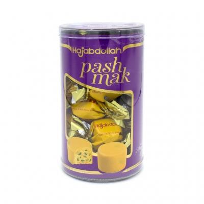 Фото упаковки конфет Hajabdollah халва царская в шафрановой глазури со вкусом шафрана и фисташек 200гр пластиковая туба