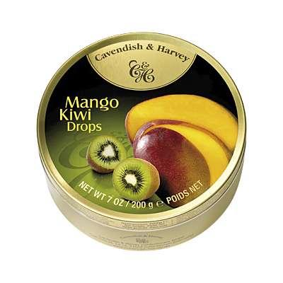 Фото упаковки - жестяной баночки леденцов Cavendish & Harvey с манго и киви (mango & kiwi drops) 200г