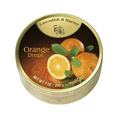 Фото упаковки - жестяной баночки леденцов Cavendish & Harvey вкус сочного апельсина (fruity orange drops) 200г