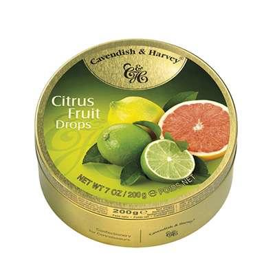 Фото упаковки - жестяной баночки леденцов Cavendish & Harvey цитрусовые фрукты (citrus fruit drops) 200г