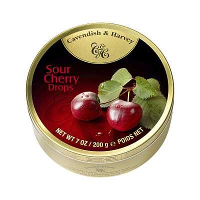 Фото упаковки леденцов Cavendish & Harvey со вкусом кислой вишни (sour cherry drops) 200г