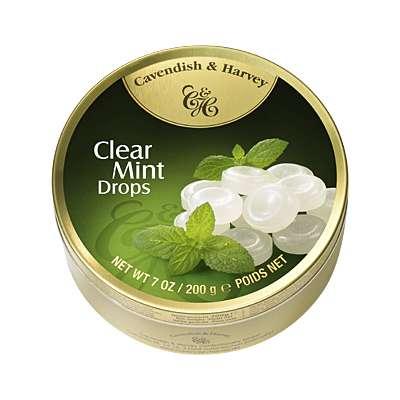 Фото упаковки леденцов Cavendish & Harvey со вкусом мяты (clear mint drops) 200г