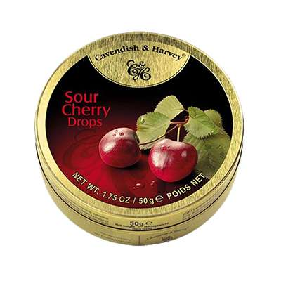 Фото упаковки леденцов Cavendish & Harvey со вкусом кислой вишни (sour cherry drops) 50г