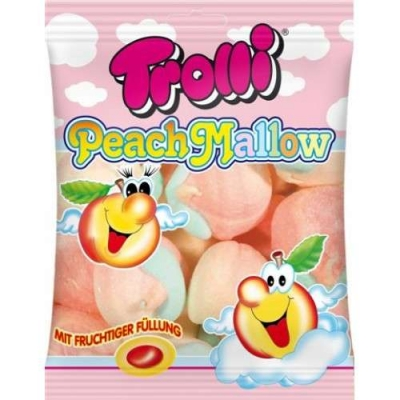 Фото упаковки маршмеллоу Trolli персиковое с фрукт. начинкой Peach Mallow