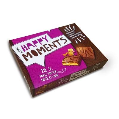 """Нора Печенье с карамель.кремом в мол.и темн.шок.""""Happy Moments Caramel"""" 150г"""