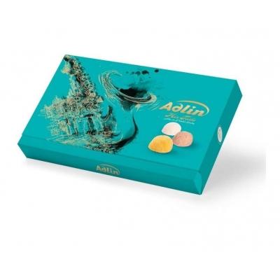 Фото упаковки иранских сладостей царская пашмала Adlin Бирюзовая Ассорти со вкусами какао, ванили, шафрана 420г