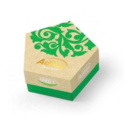 Фото упаковки конфет Adlin из царской халвы в шоколадной глазури со вкусом фундука 150г
