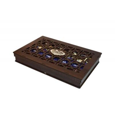 Фото подарочной деревянной шкатулки конфет Hajabdollah халва царская в шоколадной глазури со вкусами ванили, капучино, корицы 200 грамм