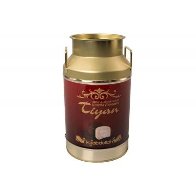 """Фото упаковки конфет Hajabdollah """"Тиянь Бордовая"""" из царской халвы в шоколадной и молочной глазури со вкусом ванили 300гр жестяной бидон"""