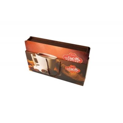 """Фото упаковки конфеты Hajabdollah """"Чашка Кофе"""" из царской халвы в шоколадной глазури со вкусами ванили, капучинно, корицы 500г"""