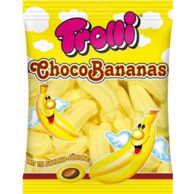 Фото упаковки Маршмеллоу Trolli Банановое с шок начинкой Choco Bananas