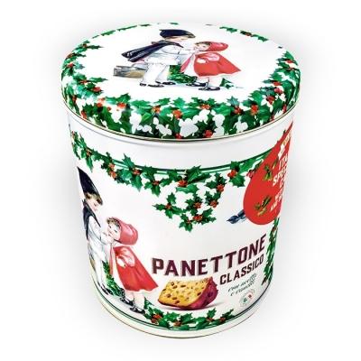 Фото упаковки панеттоне с изюмом и цукатами в жестяной баночке 1000г