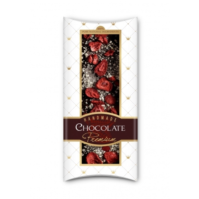 Фото упаковки шоколада Adikam с сублимированными клубникой и яблоком 110г