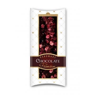 Фото упаковки шоколада Adikam с сублимированными красной смородиной, клюква