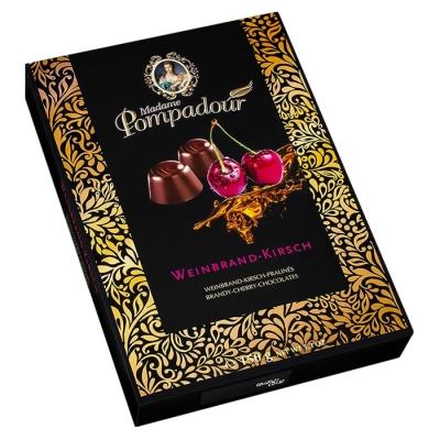 Фото упаковки шоколадных конфет Madame Pompadour бренди и вкус вишни 150г
