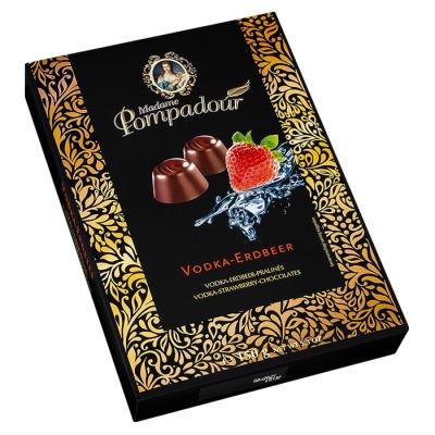 Фото шоколадных конфет Madame Pompadour водка и вкус земляники 150г